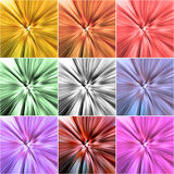 Collage of nine colorful backgrounds with radial blur Royalty Free Stock Images