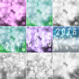 Collage of nine colorful bokeh 2016 New Year greeting card backgrounds. Purple, green, blue, white, silver and gray Stock Photos