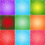 Collage of nine colorful winter holidays greeting card backgrounds. Purple, green, blue, red, orange, pink, and coral Royalty Free Stock Photos