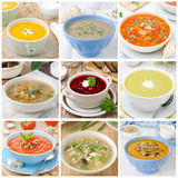 Collage of nine different colorful soups Royalty Free Stock Photo