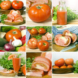 Collage of nine photographs of tomatoes and juice tomante Stock Photography