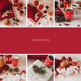 Collage of nine photos with Christmas items Stock Photos