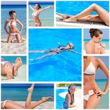 Collage of nine photos with sea and woman Stock Photos