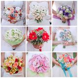 Collage of nine photos of wedding bouquet. In bride's hands Royalty Free Stock Photos