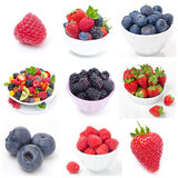 Collage of nine pictures with fresh berries royalty free stock images