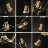 A collage of nine trained female bodies in sepia Stock Photography