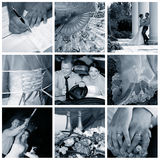 Collage of nine wedding photos royalty free stock images
