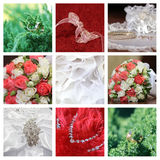 Collage of nine wedding photos stock images