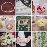 Collage of nine wedding photos. Collage of nine eco wedding photos royalty free stock photography