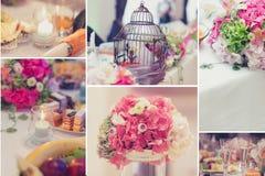 Collage nupcial de las decoraciones de la tabla Foto de archivo