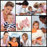 Collage of nurses and pediatritians with babies. Collage of nurses and pediatritians attending to babies Royalty Free Stock Photos