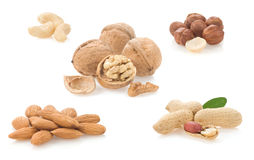 Collage of nuts on white Stock Image