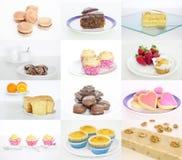 Collage o raccolta dei dessert deliziosi e saporiti Fotografia Stock