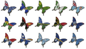 Collage from Oceania flags on butterflies Stock Photography