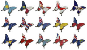 Collage from Oceania flags on butterflies Stock Image