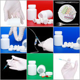 Collage od medicine on colour background. Collage of medicine- pills bottle,infusion set,syringe royalty free stock image