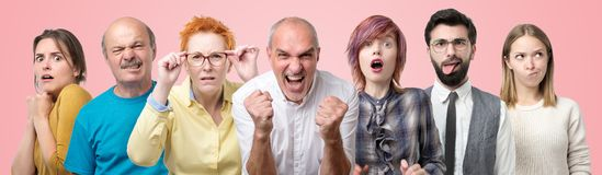 Collage od several men and women portraits. Different facial reaction on situation. stock images