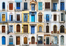 Collage Of 36 Colourful Front Doors From Karpathos. Royalty Free Stock Photo