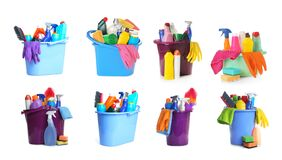 Free Collage Of Buckets With Cleaning Supplies On Background Royalty Free Stock Photography - 185034707