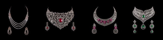 Free Collage Of Diamond Necklace With Earrings Royalty Free Stock Images - 50683019