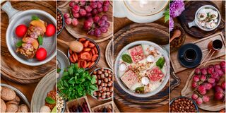 Free Collage Of Different Traditional Georgian Desserts. Ice Cream, Candied Fruit, Grapes. Collection Of Desserts. Banner. Royalty Free Stock Images - 184039439
