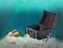 Collage Of Opened Empty Old Wooden Treasure Chest Submerged Underwater World With Anchor, Amphora And Light Rays, Close Up, Copy Royalty Free Stock Photography