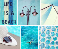 Free Collage Of Photos In Blue Colors Royalty Free Stock Photo - 56056025