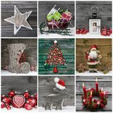 Collage Of Several Different Colorful Christmas Decoration On Wood. Royalty Free Stock Photography
