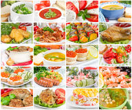Collage off food. Collage of various tasty and healthy food stock photos