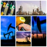 Collage of Oil fuel pump petrol station and product. Collage concept of Oil fuel pump petrol station and product stock images