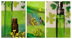 Collage with oil and perfume Stock Images