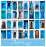 Collage of old blue doors of Chefchaouen, Morocco. Big photo set. stock images