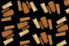 Collage of old books on a black background royalty free stock images