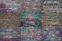 Collage old brick. Background texture of scratched old damaged brick stock image