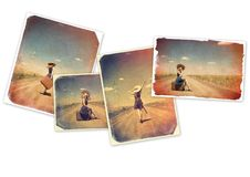 Collage of an old images of a girl with suitcase. Collage of an old images of a young girl with suitcase on white background royalty free stock photo