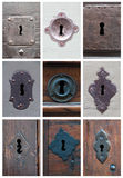 Collage of keyholes Royalty Free Stock Images