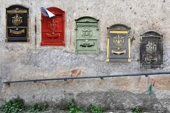 Collage with old letterboxes in Calabria stock image