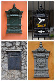 Collage with old postboxes in Brazil Stock Image