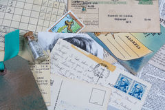Collage of old postcards and receipts Royalty Free Stock Image