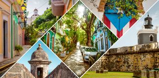 Collage of Old San Juan, Puerto Rico stock image