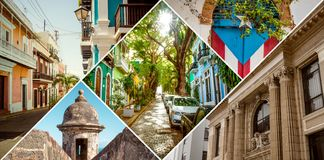 Collage of Old San Juan, Puerto Rico stock photography