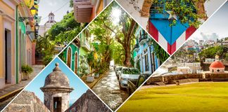 Collage of Old San Juan, Puerto Rico royalty free stock image