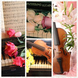 Collage with old violin, piano, notes and flower Stock Photography
