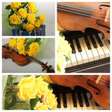 Collage with old violin and yellow roses. Vintage style collage mix with yellow roses, violin and piano Royalty Free Stock Photos