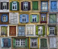 Collage of old windows. Background of various windows. royalty free illustration