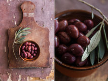 Collage with Olives on a wooden table Royalty Free Stock Image