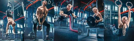 Collage om övningar i konditionidrottshallen fotografering för bildbyråer