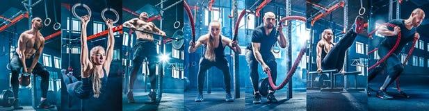 Collage om övningar i konditionidrottshallen royaltyfri bild