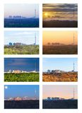 The one landscape in various seasons royalty free stock photo