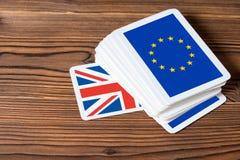 Collage op sh het referendumconcept van de EU van gebeurtenisbrexit het UK kaartspel stock fotografie